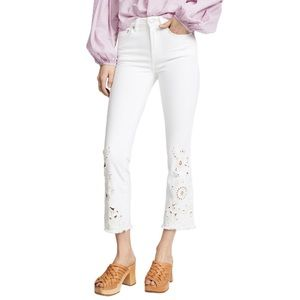 Free people white cut work cigarette Cropped Jeans